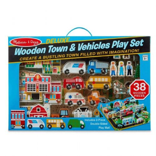 Melissa & Doug Deluxe Wooden Town & Vehicles Play Set 40 Pieces includes Playmat